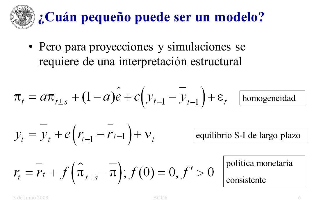 3 de Junio 2003BCCh6 Pero para proyecciones y simulaciones se requiere de una interpretación estructural ¿Cuán pequeño puede ser un modelo.