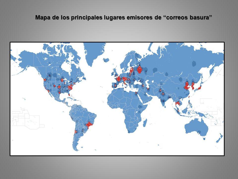 Mapa de los principales lugares emisores de correos basura