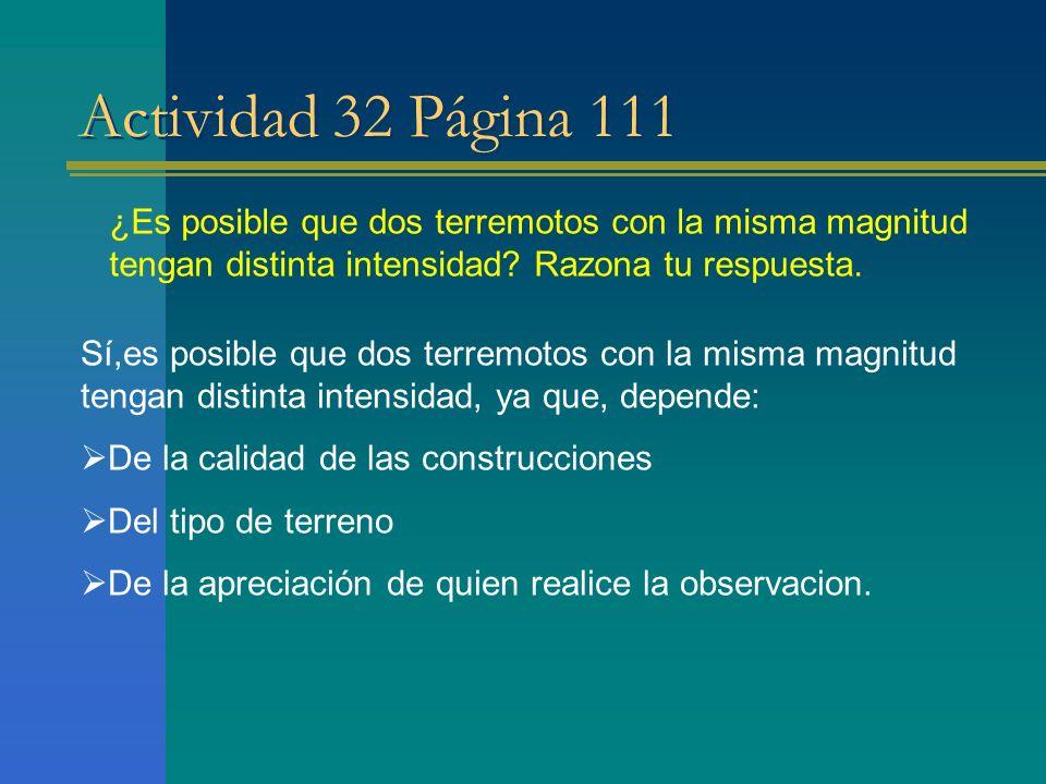 Actividad 32 Página 111 ¿Es posible que dos terremotos con la misma magnitud tengan distinta intensidad? Razona tu respuesta. Sí,es posible que dos te