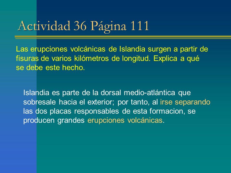 Actividad 36 Página 111 Las erupciones volcánicas de Islandia surgen a partir de fisuras de varios kilómetros de longitud. Explica a qué se debe este