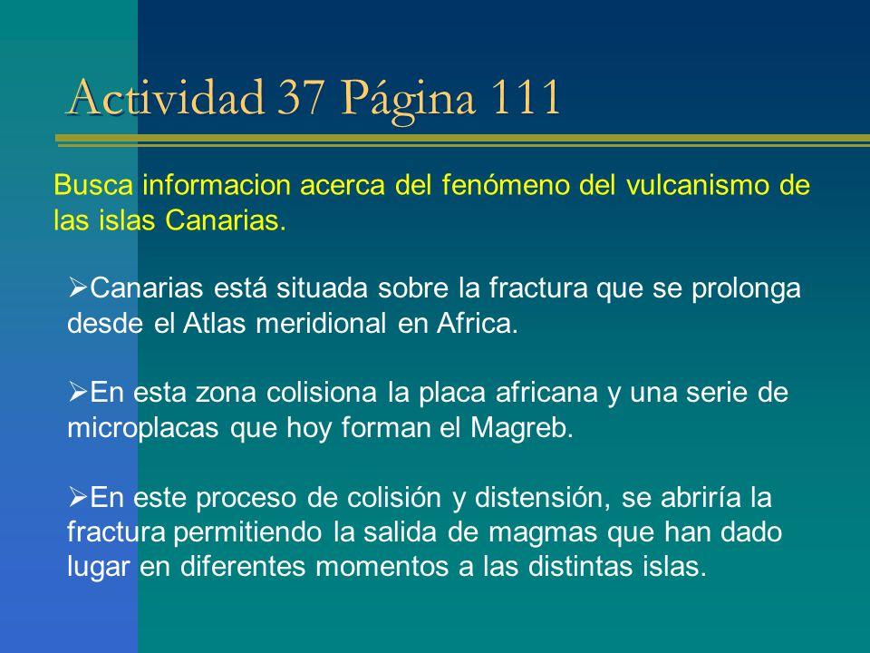 Actividad 37 Página 111 Busca informacion acerca del fenómeno del vulcanismo de las islas Canarias. Canarias está situada sobre la fractura que se pro