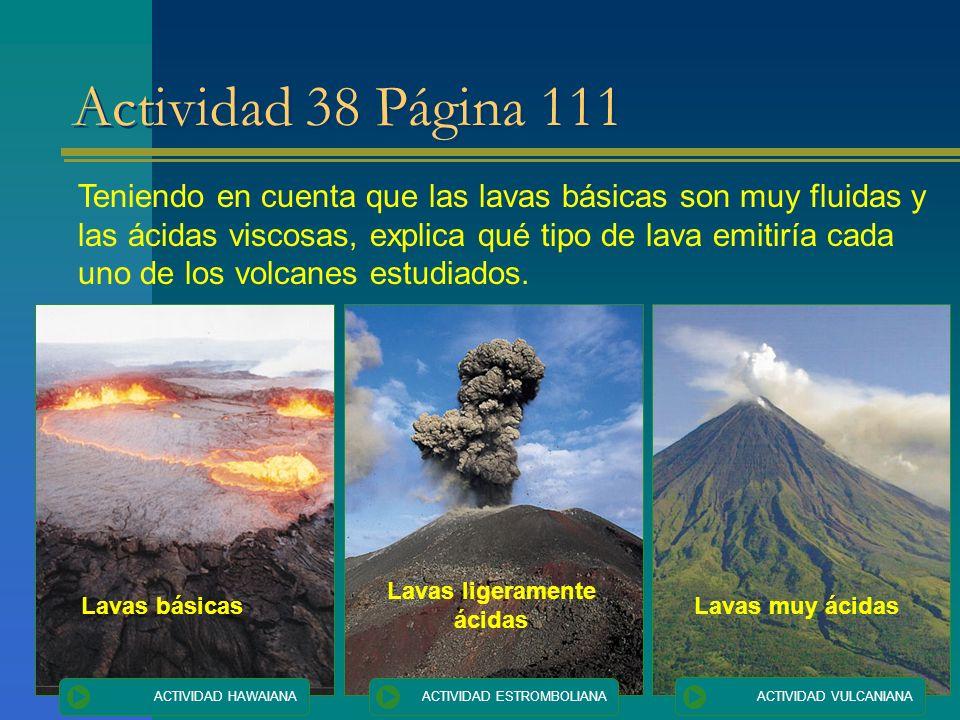 Actividad 38 Página 111 Teniendo en cuenta que las lavas básicas son muy fluidas y las ácidas viscosas, explica qué tipo de lava emitiría cada uno de