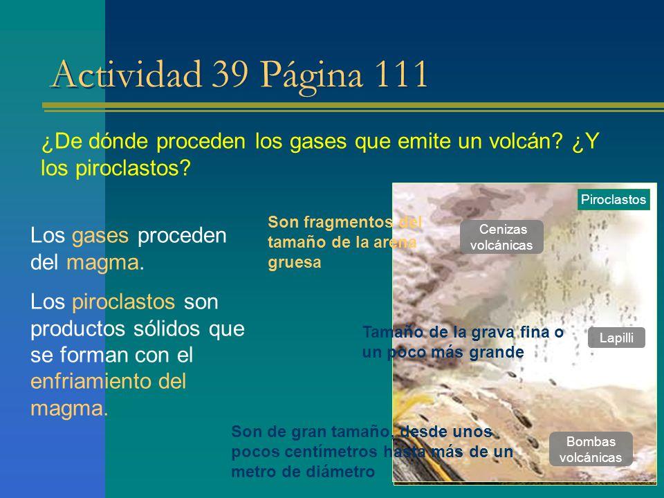 Actividad 39 Página 111 ¿De dónde proceden los gases que emite un volcán? ¿Y los piroclastos? Los gases proceden del magma. Los piroclastos son produc