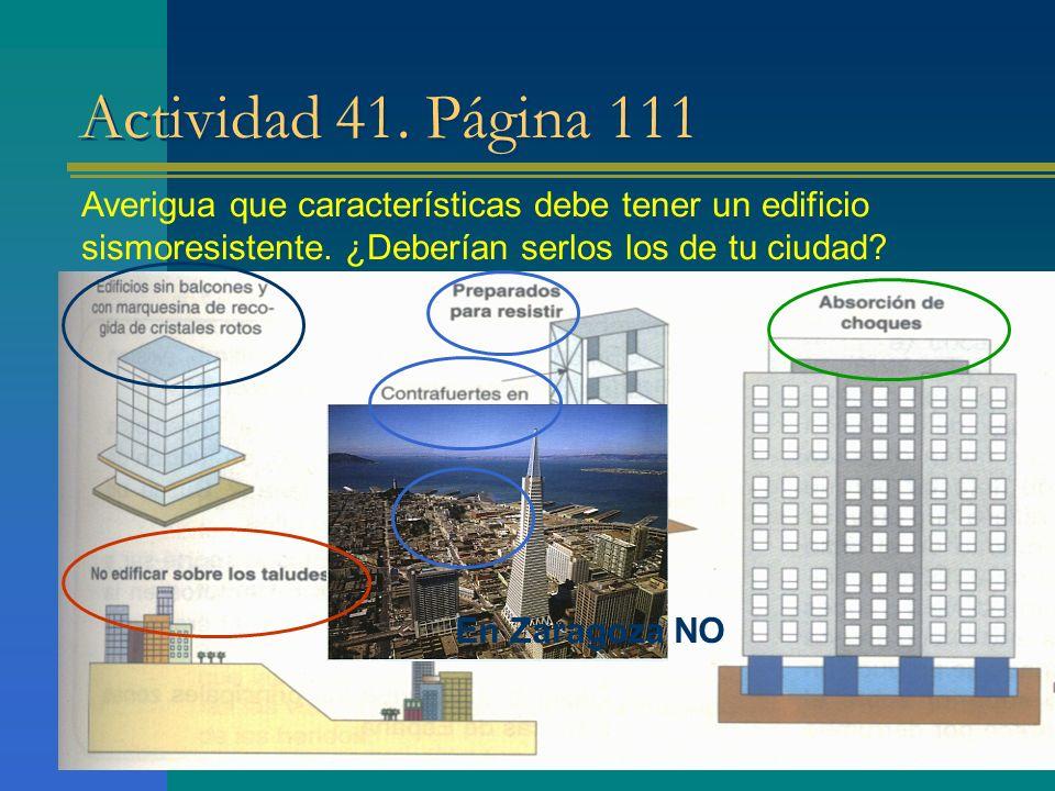 Actividad 41. Página 111 Averigua que características debe tener un edificio sismoresistente. ¿Deberían serlos los de tu ciudad? En Zaragoza NO