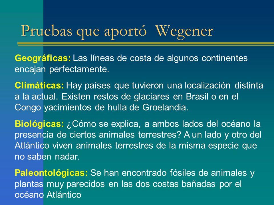 Pruebas que aportó Wegener Geográficas: Las líneas de costa de algunos continentes encajan perfectamente. Climáticas: Hay países que tuvieron una loca