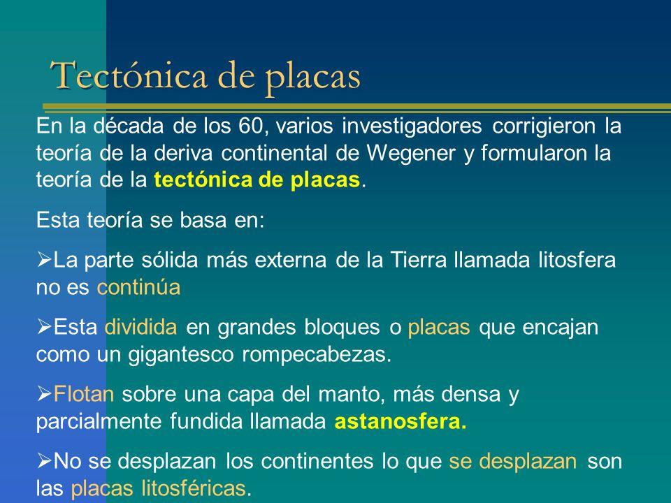 Tectónica de placas En la década de los 60, varios investigadores corrigieron la teoría de la deriva continental de Wegener y formularon la teoría de la tectónica de placas.
