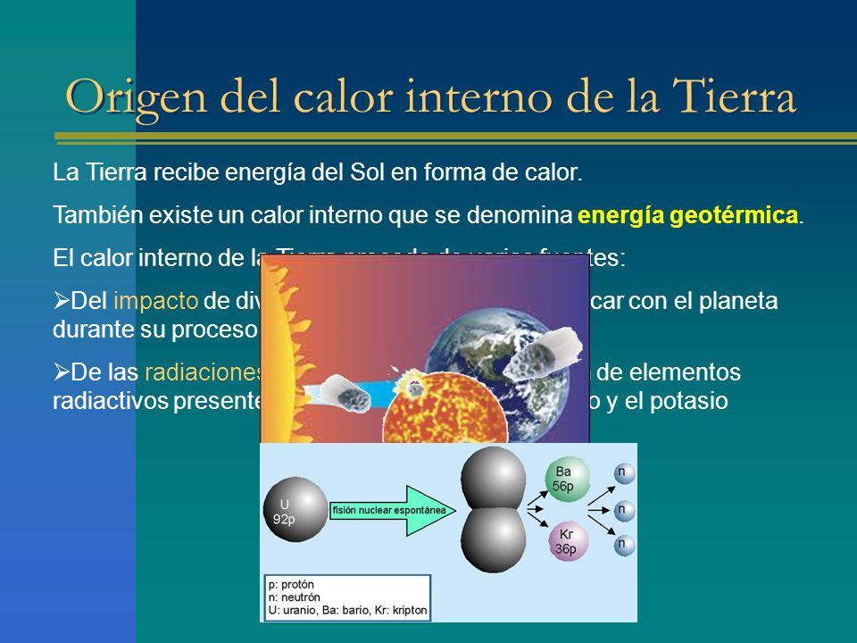 Origen del calor interno de la Tierra La Tierra recibe energía del Sol en forma de calor. También existe un calor interno que se denomina energía geot