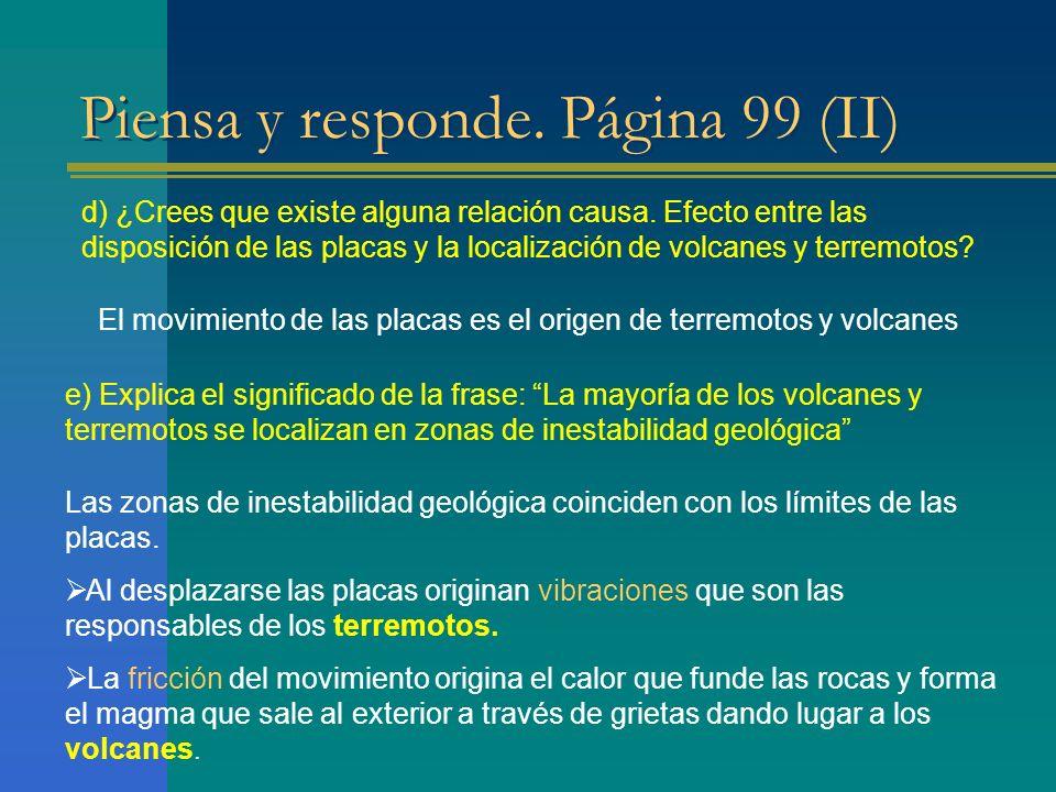 Piensa y responde. Página 99 (II) d) ¿Crees que existe alguna relación causa. Efecto entre las disposición de las placas y la localización de volcanes