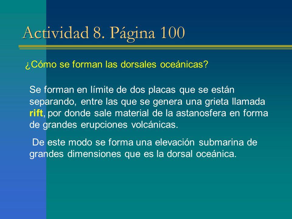 Actividad 8. Página 100 ¿Cómo se forman las dorsales oceánicas? Se forman en límite de dos placas que se están separando, entre las que se genera una