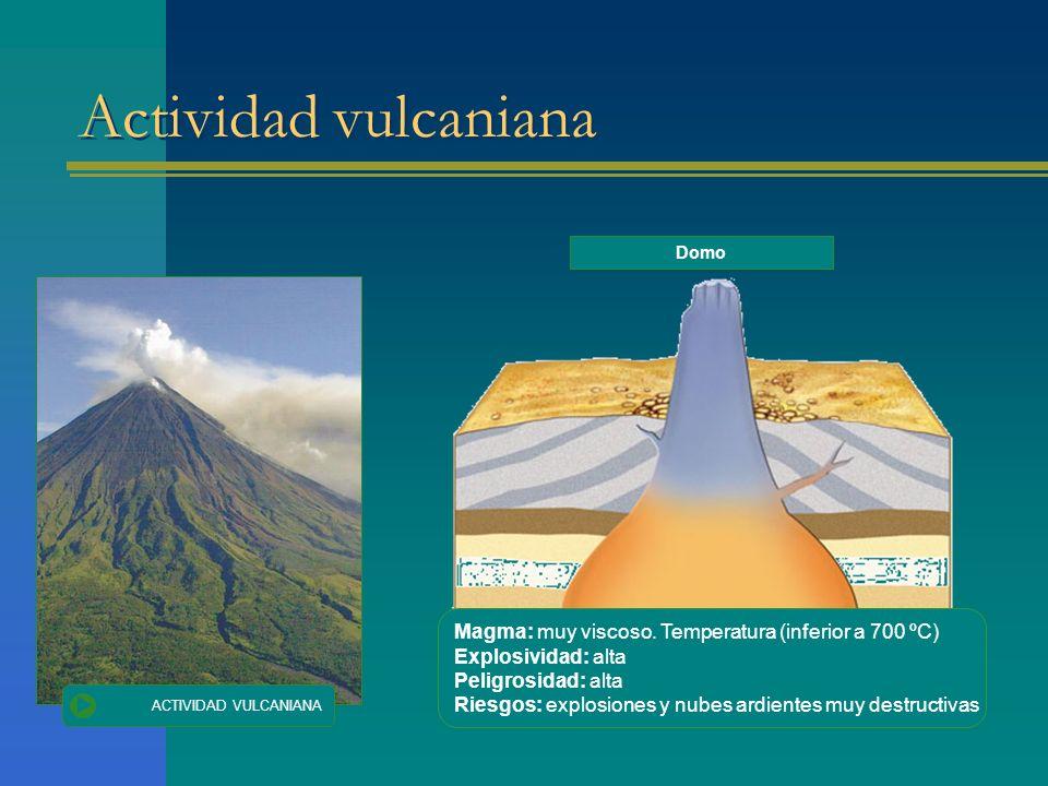 Actividad vulcaniana ACTIVIDAD VULCANIANA Magma: muy viscoso. Temperatura (inferior a 700 ºC) Explosividad: alta Peligrosidad: alta Riesgos: explosion