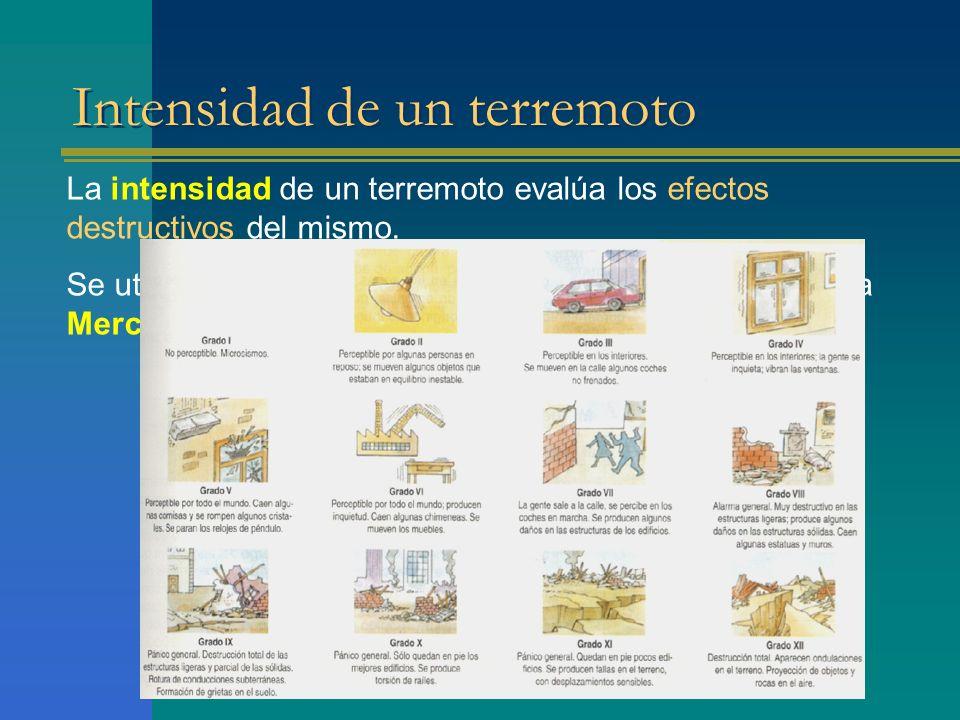 Intensidad de un terremoto La intensidad de un terremoto evalúa los efectos destructivos del mismo.