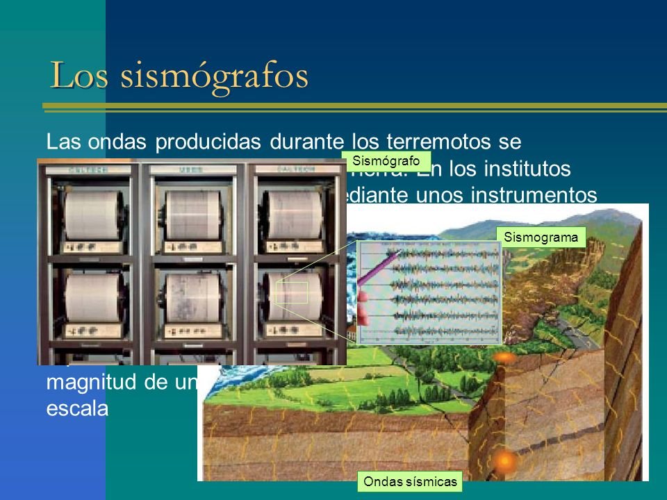 Los sismógrafos Las ondas producidas durante los terremotos se transmiten por el interior de la Tierra. En los institutos sismológicos son captadas me