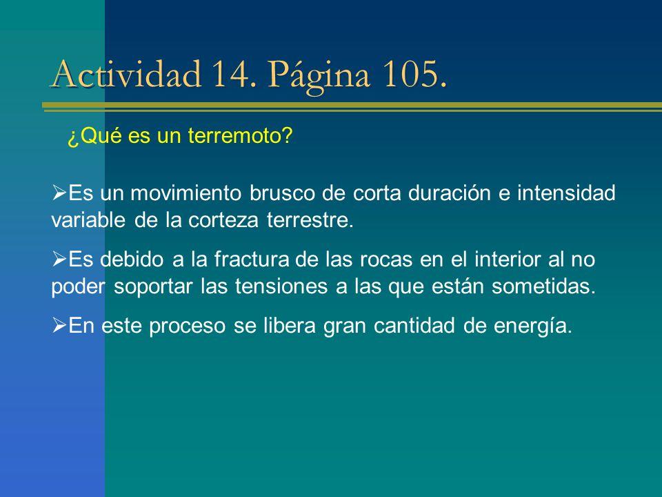Actividad 14. Página 105. ¿Qué es un terremoto? Es un movimiento brusco de corta duración e intensidad variable de la corteza terrestre. Es debido a l