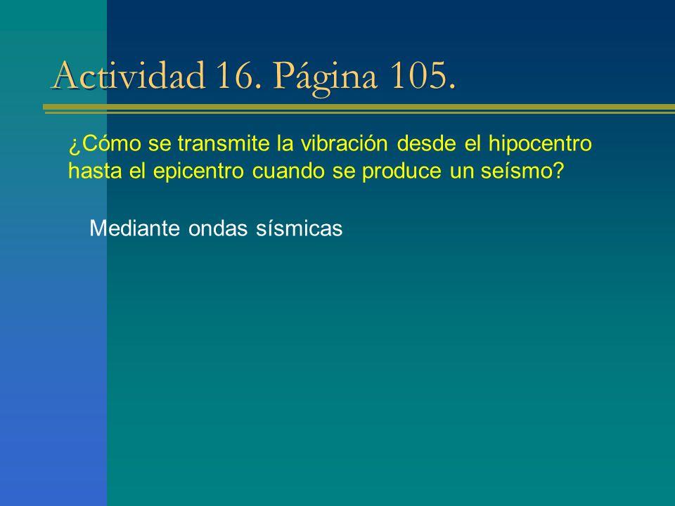 Actividad 16. Página 105. Mediante ondas sísmicas ¿Cómo se transmite la vibración desde el hipocentro hasta el epicentro cuando se produce un seísmo?