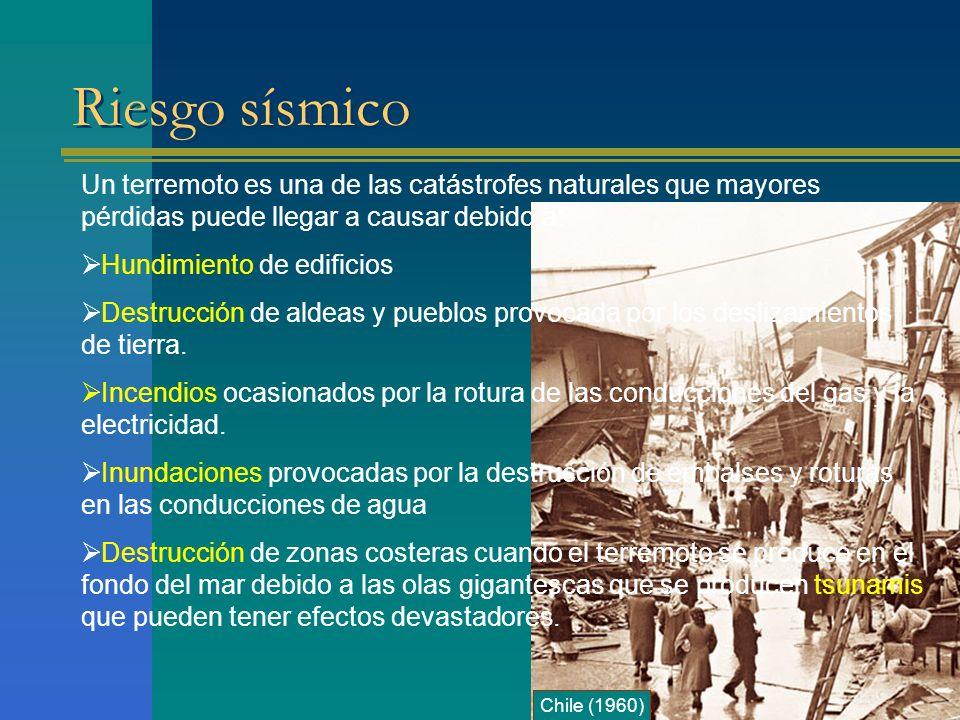 Riesgo sísmico Un terremoto es una de las catástrofes naturales que mayores pérdidas puede llegar a causar debido a: Hundimiento de edificios Destrucc