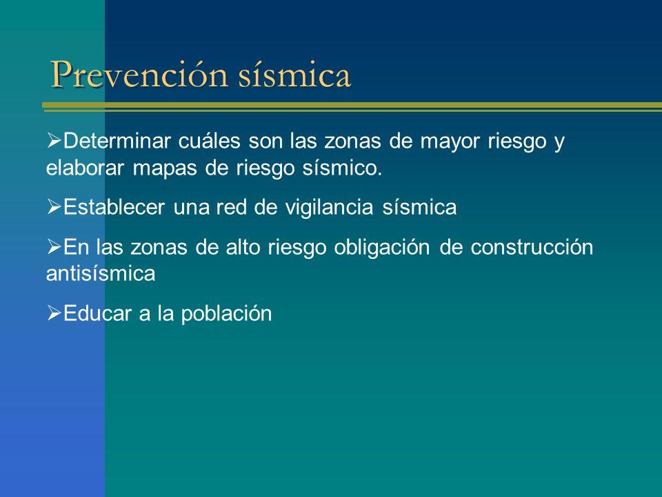 Prevención sísmica Determinar cuáles son las zonas de mayor riesgo y elaborar mapas de riesgo sísmico. Establecer una red de vigilancia sísmica En las