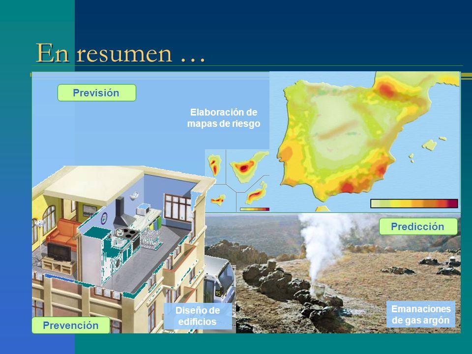 En resumen … Previsión Elaboración de mapas de riesgo Prevención Predicción Emanaciones de gas argón Diseño de edificios