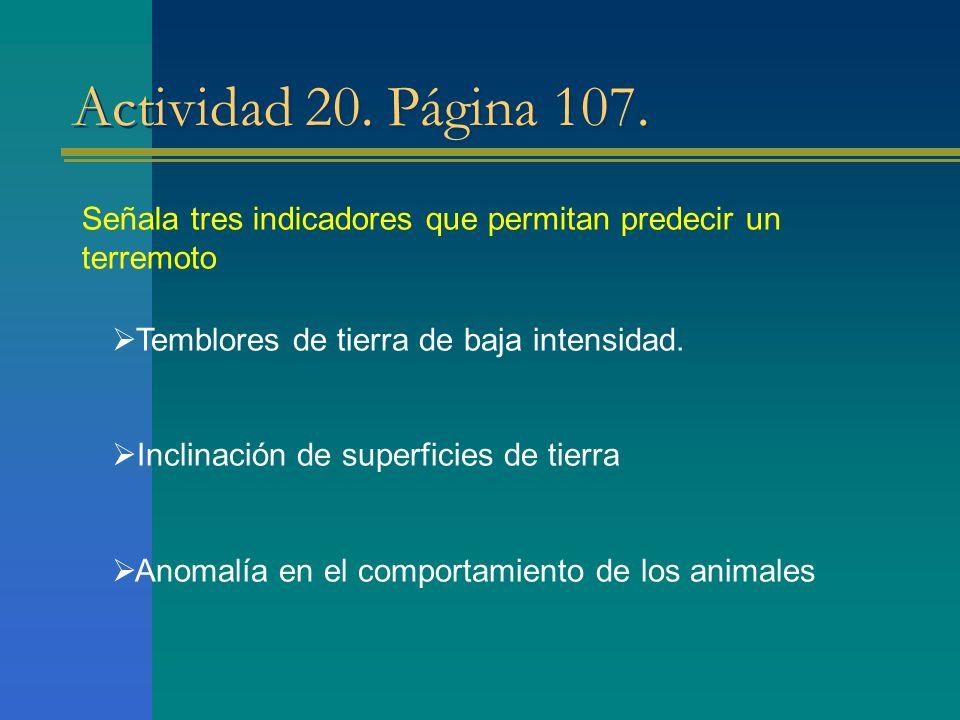 Actividad 20. Página 107. Señala tres indicadores que permitan predecir un terremoto Temblores de tierra de baja intensidad. Inclinación de superficie