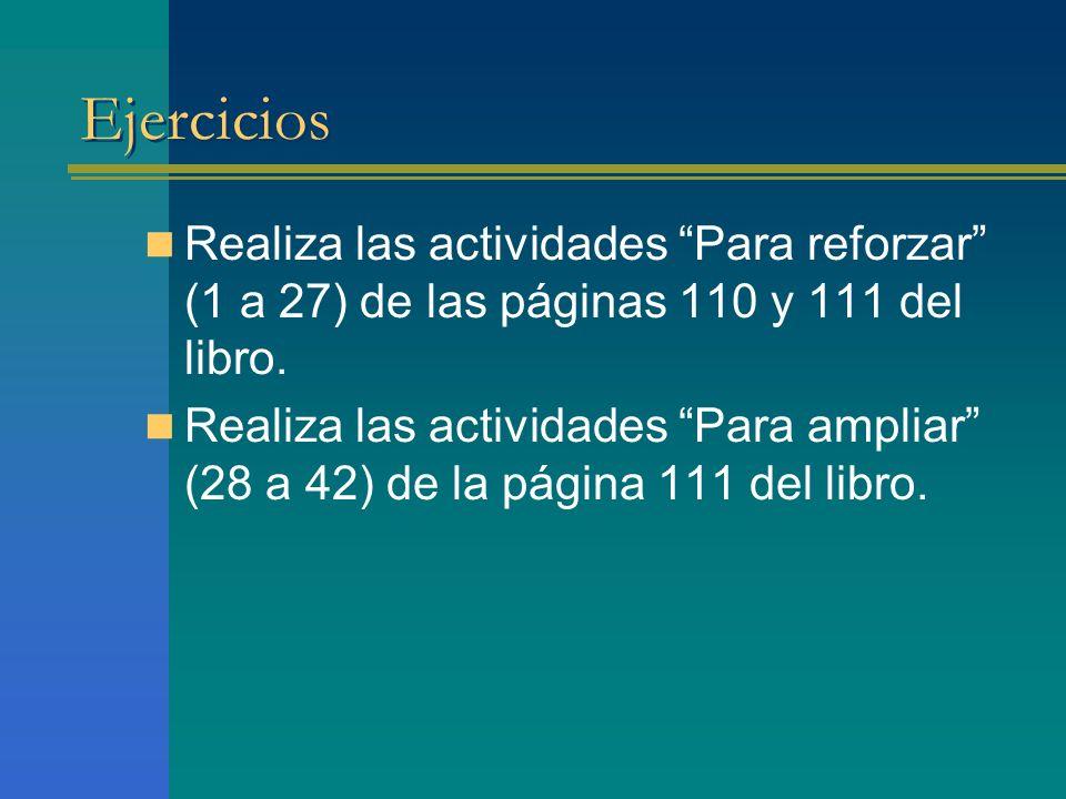 Ejercicios Realiza las actividades Para reforzar (1 a 27) de las páginas 110 y 111 del libro. Realiza las actividades Para ampliar (28 a 42) de la pág