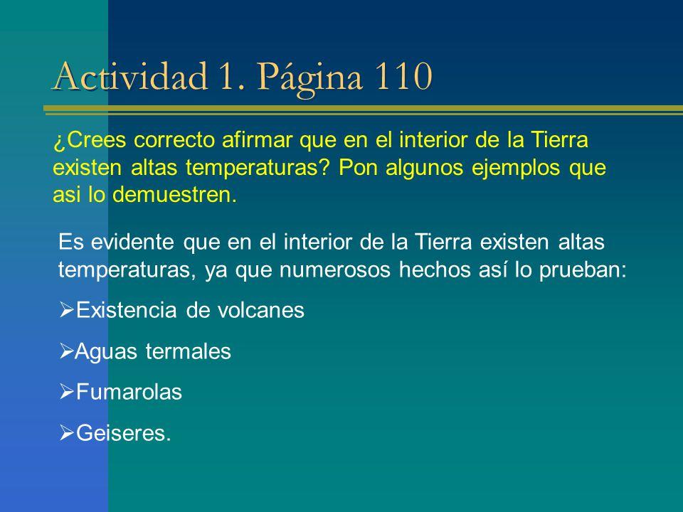 Actividad 1. Página 110 ¿Crees correcto afirmar que en el interior de la Tierra existen altas temperaturas? Pon algunos ejemplos que asi lo demuestren
