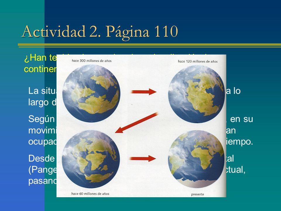 Actividad 2. Página 110 ¿Han tenido siempre la misma localización los continentes? Justifica tu respuesta. La situación de los continentes ha ido vari