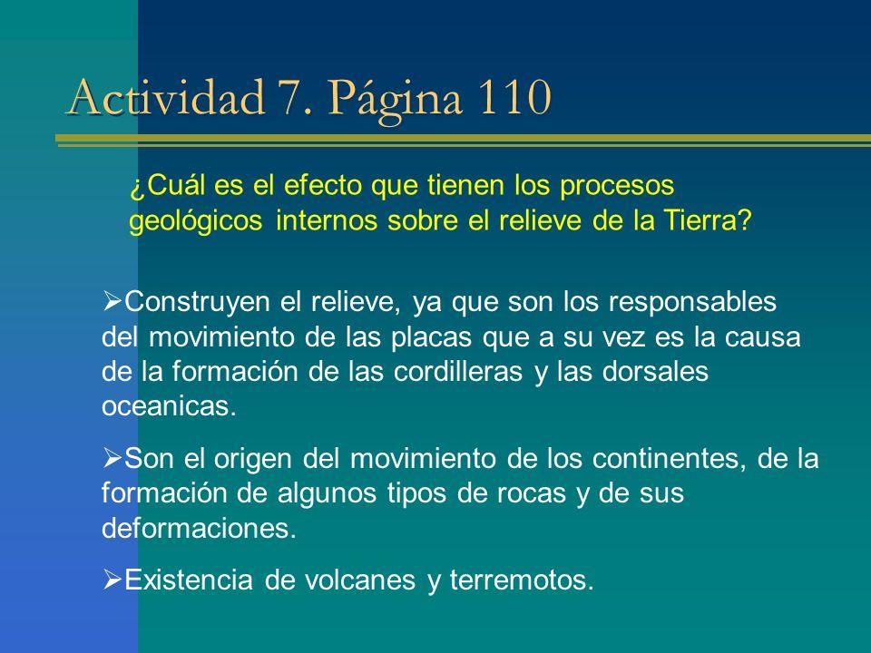 Actividad 7. Página 110 ¿Cuál es el efecto que tienen los procesos geológicos internos sobre el relieve de la Tierra? Construyen el relieve, ya que so