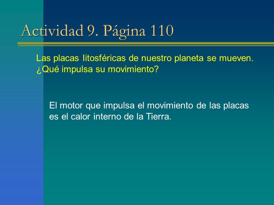 Actividad 9. Página 110 Las placas Iitosféricas de nuestro planeta se mueven. ¿Qué impulsa su movimiento? El motor que impulsa el movimiento de las pl