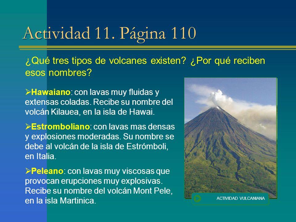 Actividad 11. Página 110 ¿Qué tres tipos de volcanes existen? ¿Por qué reciben esos nombres? Hawaiano: con lavas muy fluidas y extensas coladas. Recib