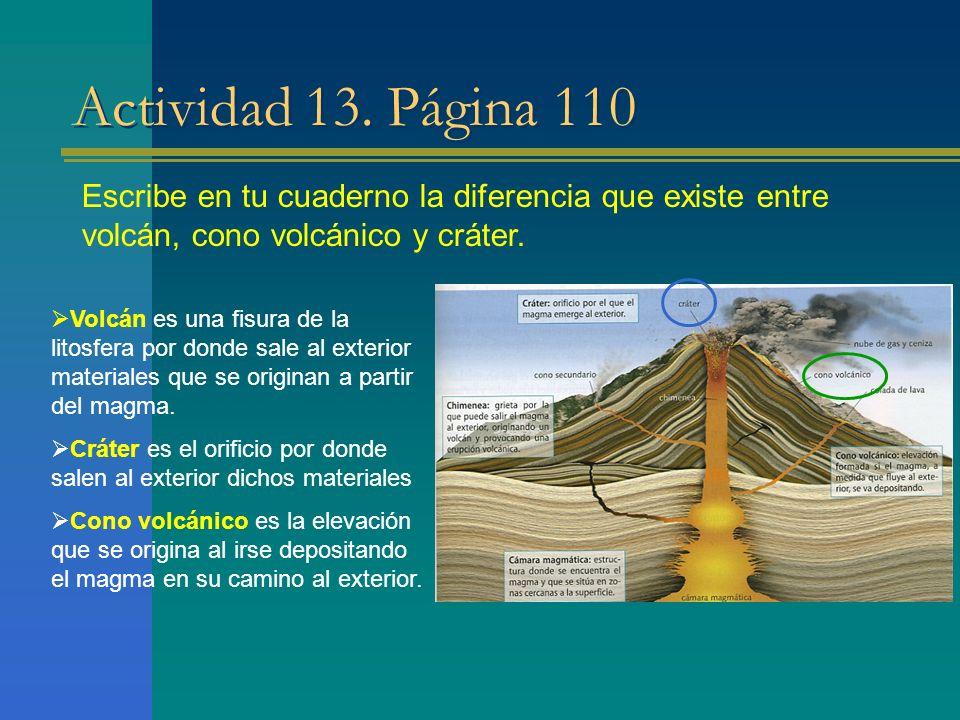 Actividad 13. Página 110 Escribe en tu cuaderno la diferencia que existe entre volcán, cono volcánico y cráter. Volcán es una fisura de la litosfera p