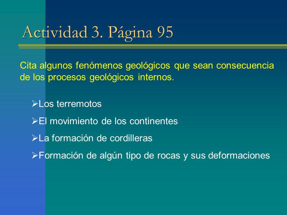 Actividad 3. Página 95 Cita algunos fenómenos geológicos que sean consecuencia de los procesos geológicos internos. Los terremotos El movimiento de lo