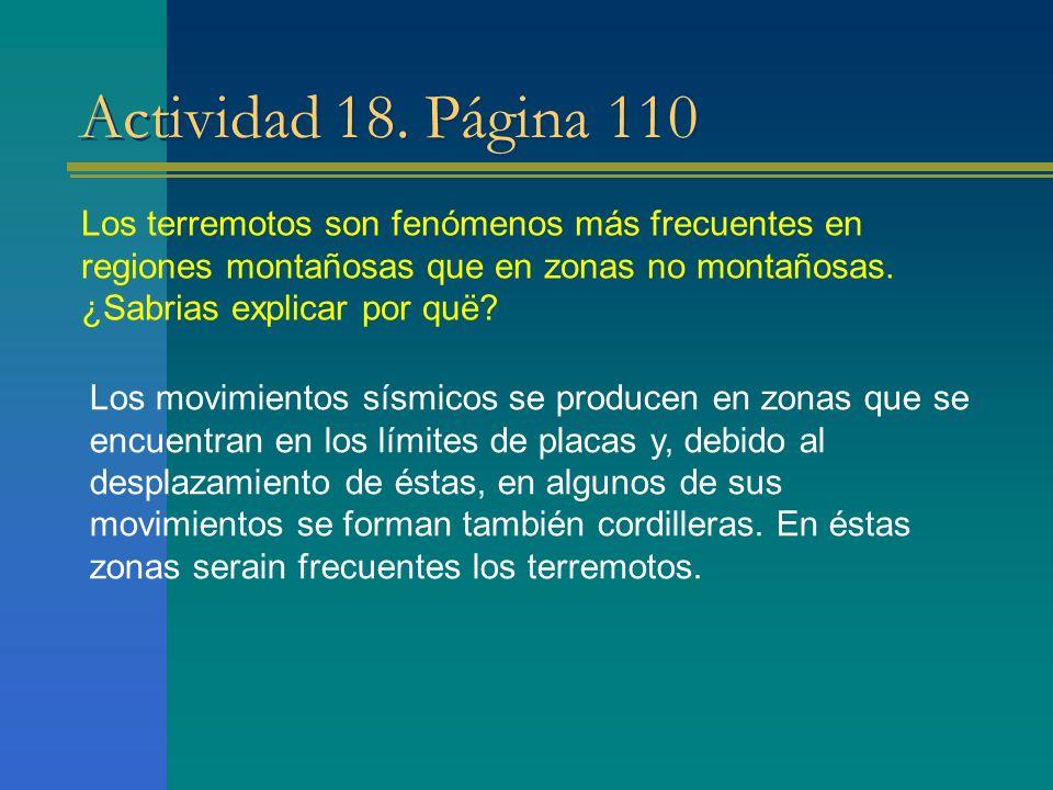 Actividad 18. Página 110 Los terremotos son fenómenos más frecuentes en regiones montañosas que en zonas no montañosas. ¿Sabrias explicar por quë? Los