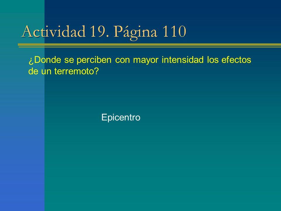 Actividad 19. Página 110 ¿Donde se perciben con mayor intensidad los efectos de un terremoto? Epicentro