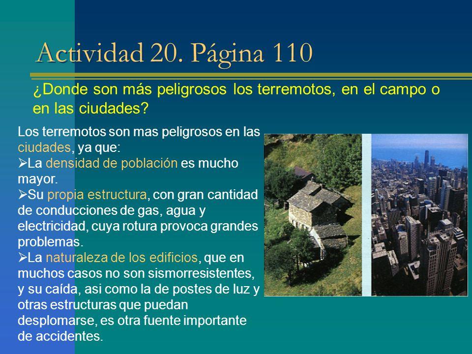 Actividad 20. Página 110 ¿Donde son más peligrosos los terremotos, en el campo o en las ciudades? Los terremotos son mas peligrosos en las ciudades, y