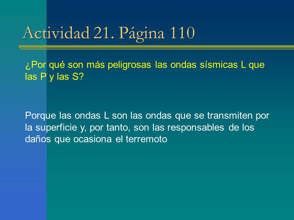 Actividad 21. Página 110 ¿Por qué son más peligrosas las ondas sísmicas L que las P y las S? Porque las ondas L son las ondas que se transmiten por la
