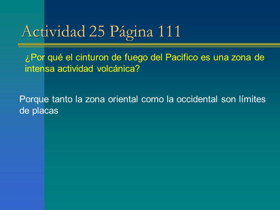 Actividad 25 Página 111 ¿Por qué el cinturon de fuego del Pacifico es una zona de intensa actividad volcánica? Porque tanto la zona oriental como la o
