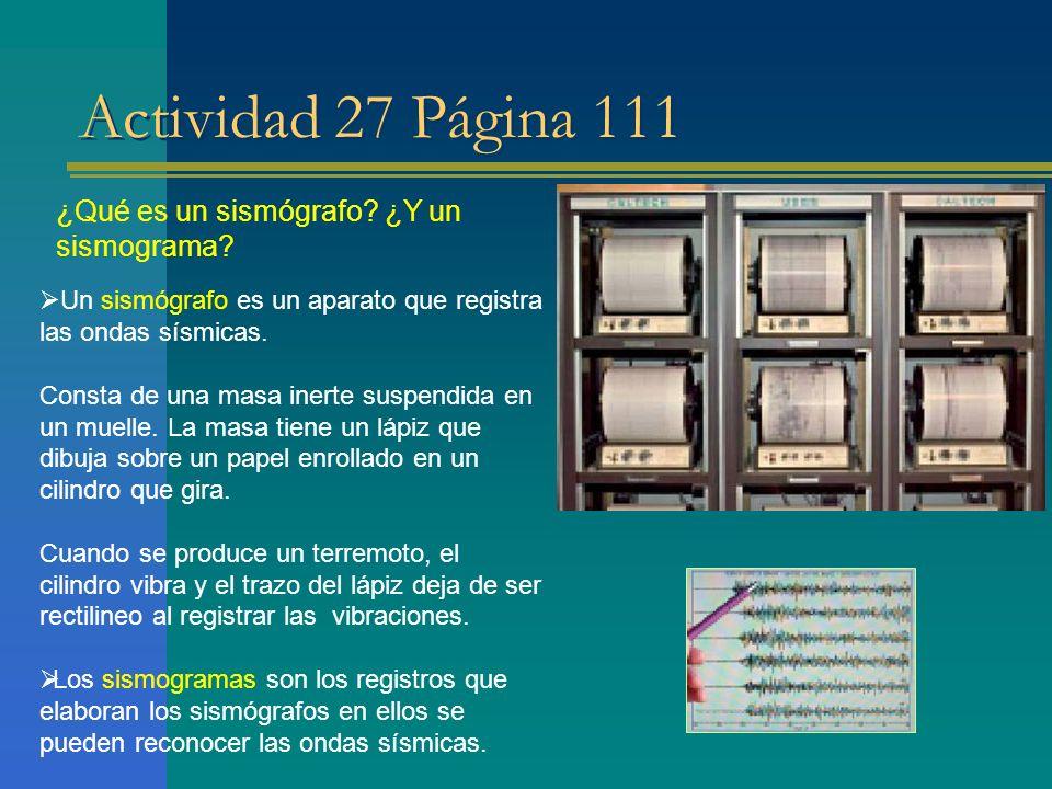 Actividad 27 Página 111 ¿Qué es un sismógrafo? ¿Y un sismograma? Un sismógrafo es un aparato que registra las ondas sísmicas. Consta de una masa inert