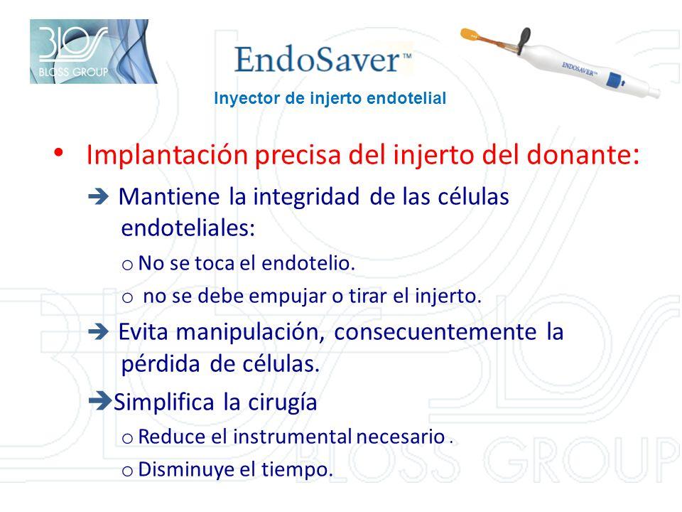Implantación precisa del injerto del donante : Mantiene la integridad de las células endoteliales: o No se toca el endotelio.