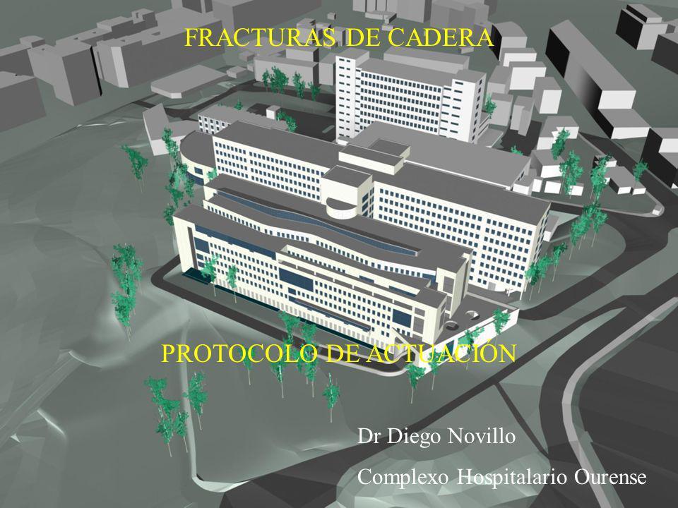 Fracturas de cadera Protocolo de actuación Dr Diego Novillo Casal FRACTURAS DE CADERA PROTOCOLO DE ACTUACIÓN Dr Diego Novillo Complexo Hospitalario Ou