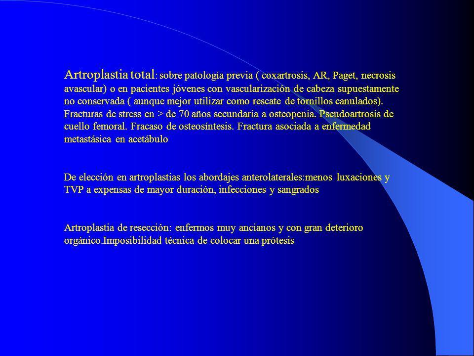 Artroplastia total : sobre patología previa ( coxartrosis, AR, Paget, necrosis avascular) o en pacientes jóvenes con vascularización de cabeza supuest