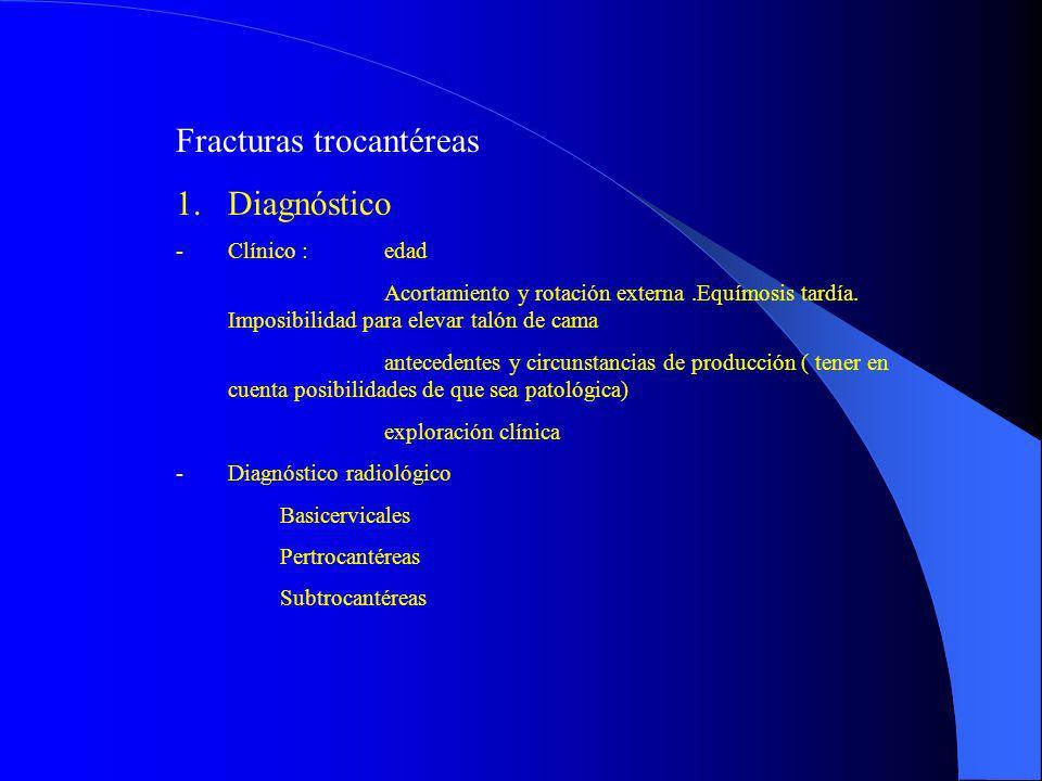 Fracturas trocantéreas 1.Diagnóstico -Clínico : edad Acortamiento y rotación externa.Equímosis tardía. Imposibilidad para elevar talón de cama anteced