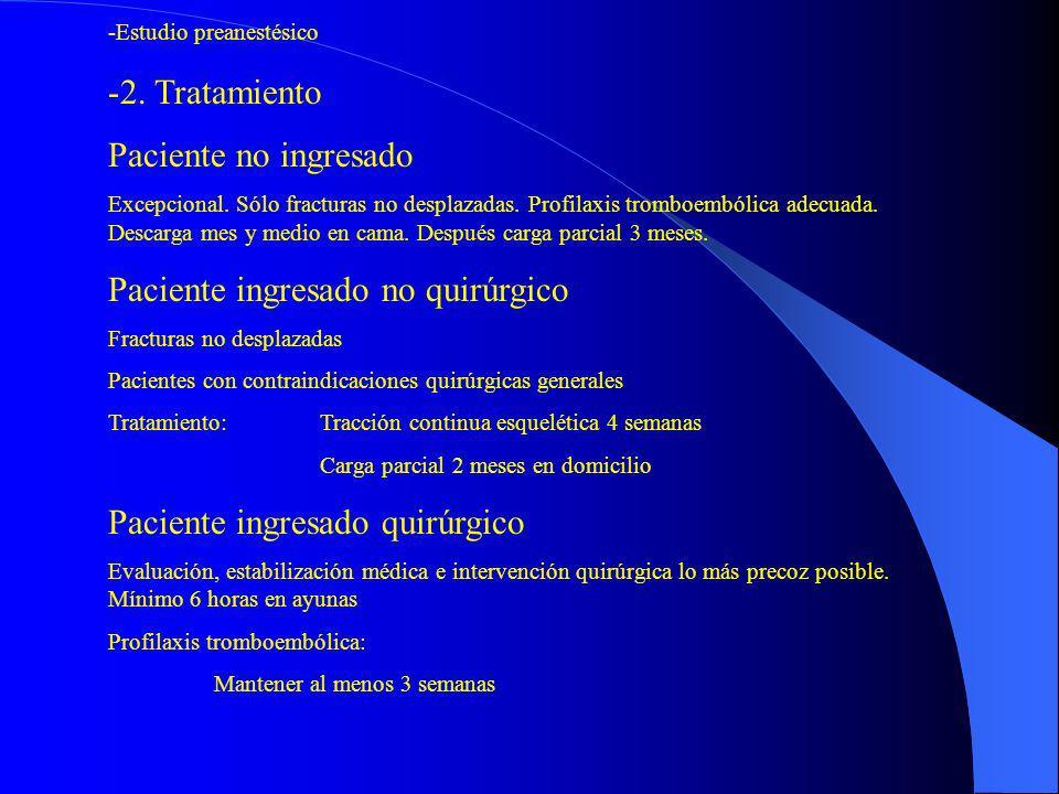-Estudio preanestésico -2. Tratamiento Paciente no ingresado Excepcional. Sólo fracturas no desplazadas. Profilaxis tromboembólica adecuada. Descarga