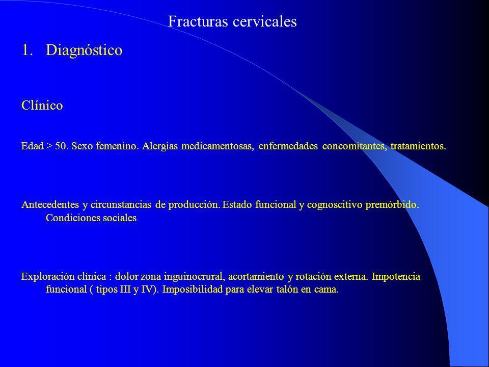 Fracturas cervicales 1.Diagnóstico Clínico Edad > 50. Sexo femenino. Alergias medicamentosas, enfermedades concomitantes, tratamientos. Antecedentes y