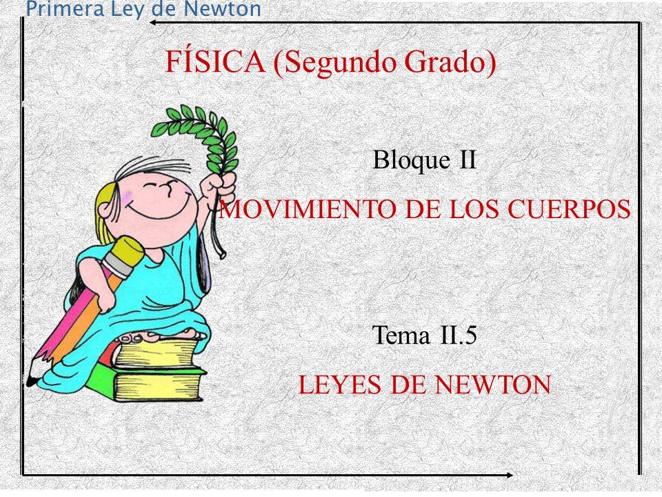 Primera Ley de Newton FÍSICA (Segundo Grado) Bloque II MOVIMIENTO DE LOS CUERPOS Tema II.5 LEYES DE NEWTON