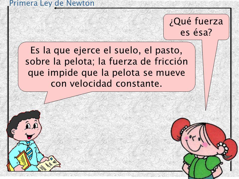 Primera Ley de Newton ¿Qué fuerza es ésa? Es la que ejerce el suelo, el pasto, sobre la pelota; la fuerza de fricción que impide que la pelota se muev