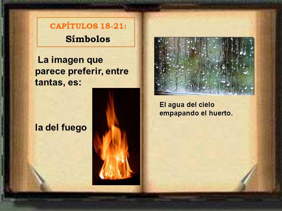 La imagen que parece preferir, entre tantas, es: la del fuego CAPÍTULOS 18-21: Símbolos El agua del cielo empapando el huerto.