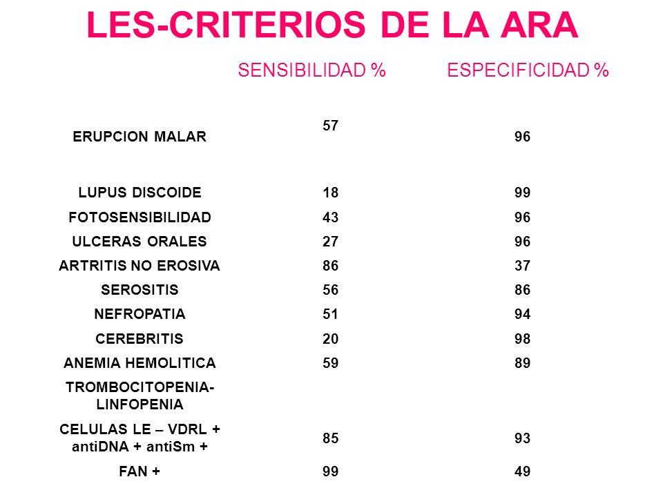 LES-CRITERIOS DE LA ARA SENSIBILIDAD % ESPECIFICIDAD % ERUPCION MALAR 57 96 LUPUS DISCOIDE1899 FOTOSENSIBILIDAD4396 ULCERAS ORALES2796 ARTRITIS NO ERO