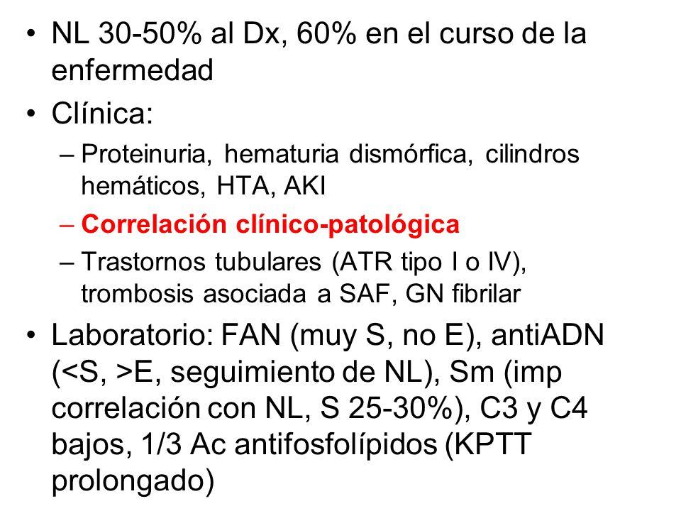NL 30-50% al Dx, 60% en el curso de la enfermedad Clínica: –Proteinuria, hematuria dismórfica, cilindros hemáticos, HTA, AKI –Correlación clínico-pato