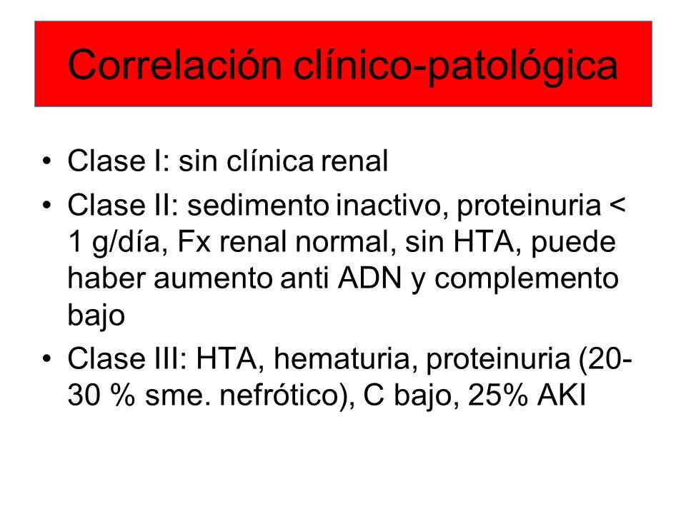 Correlación clínico-patológica Clase I: sin clínica renal Clase II: sedimento inactivo, proteinuria < 1 g/día, Fx renal normal, sin HTA, puede haber a