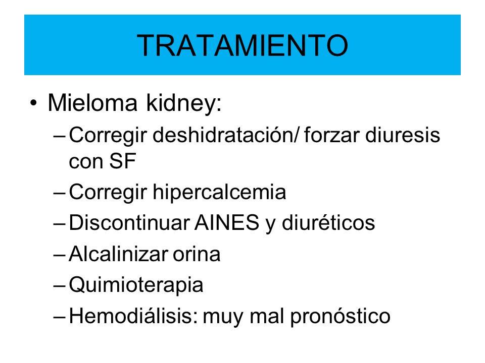 TRATAMIENTO Mieloma kidney: –Corregir deshidratación/ forzar diuresis con SF –Corregir hipercalcemia –Discontinuar AINES y diuréticos –Alcalinizar ori