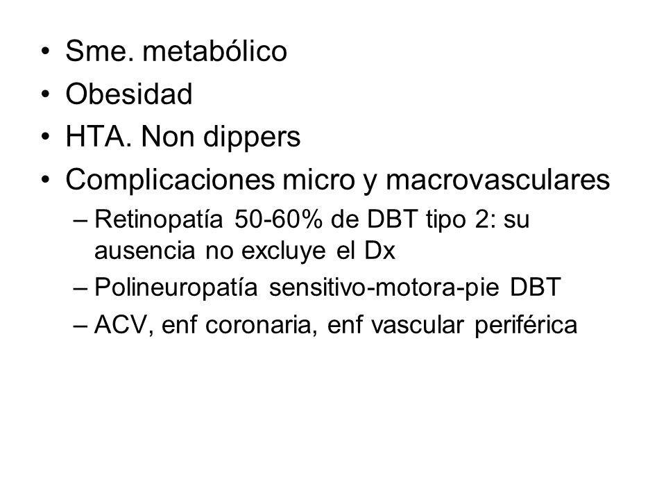Sme. metabólico Obesidad HTA. Non dippers Complicaciones micro y macrovasculares –Retinopatía 50-60% de DBT tipo 2: su ausencia no excluye el Dx –Poli